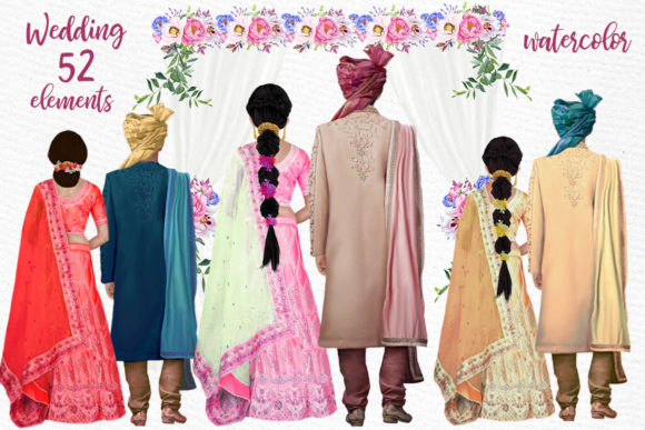 Hindu Wedding Clipart Indian Couples Graphic Illustrations By LeCoqDesign