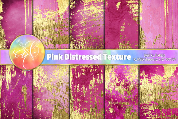 Hot Pink Distressed Digital Paper Graphic Backgrounds By paperart.bymc