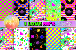 I Love 80's Digital Paper / Backgrounds Graphic Backgrounds By paperart.bymc