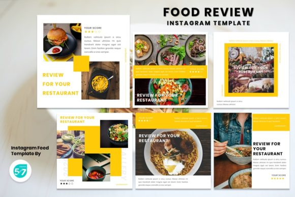 Instagram Feed Template - Food Review Graphic Presentation Templates By 57creative