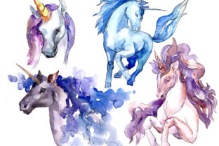 Print on Demand: Magic Blue and Pink Unicorns PNG Watercolor Set Graphic Illustrations By MyStocks