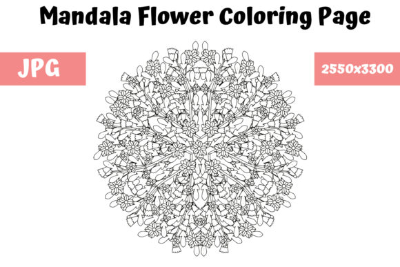 Print on Demand: Mandala Flower Coloring Page 07 Graphic Coloring Pages & Books Adults By MyBeautifulFiles