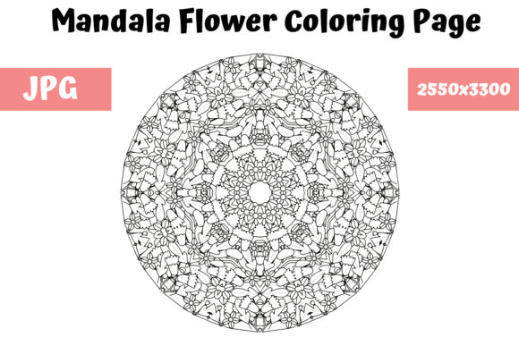 Print on Demand: Mandala Flower Coloring Page 08 Graphic Coloring Pages & Books Adults By MyBeautifulFiles
