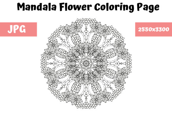 Print on Demand: Mandala Flower Coloring Page 09 Graphic Coloring Pages & Books Adults By MyBeautifulFiles