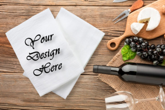 Mockups White Kitchen Towel, Flat Lay Graphic Product Mockups By MockupsByGaby