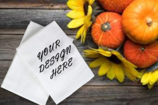 Mockups White Towels, Autumn, Flat Lay Graphic Product Mockups By MockupsStudio