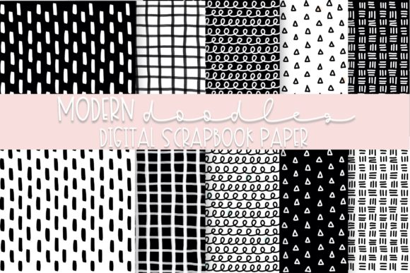 Print on Demand: Modern Doodles Digital Paper | Volume 1 Graphic Backgrounds By Fairways and Chalkboards