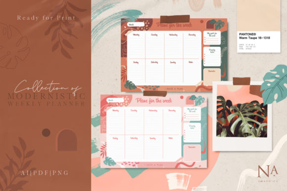 Modernistic Weekly Planner Graphic Print Templates By NassyArt