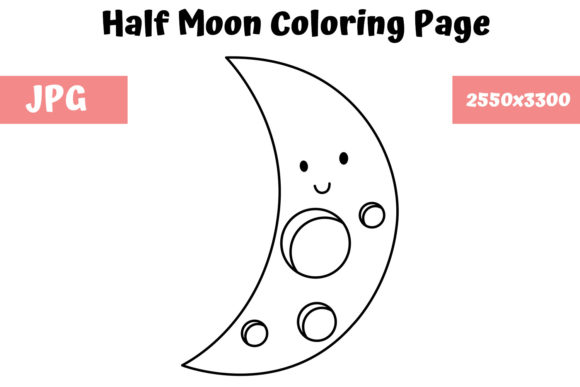 Print on Demand: Moon Coloring Page for Kids Graphic Coloring Pages & Books Kids By MyBeautifulFiles