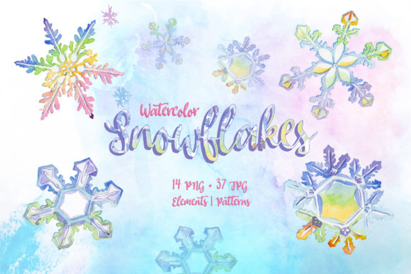 Print on Demand: Nice Snowflakes PNG Watercolor Set Graphic Illustrations By MyStocks
