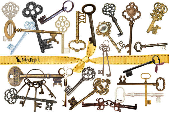 Print on Demand: Old Skeleton Keys PNG Individual Files Graphic Objects By CatgoDigital