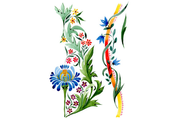 """Print on Demand: Ornament Floral """"Riddle"""" Watercolor Graphic Illustrations By MyStocks"""