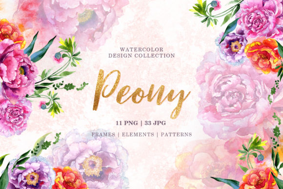 Print on Demand: Peony Red and Pink Watercolor Png Graphic Illustrations By MyStocks