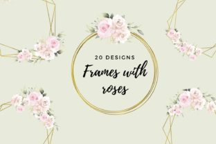 Pink Flowers & Romantic Geometric Frames Graphic Illustrations By Aneta Design