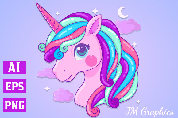 Print on Demand: Pink Magical Unicorn Clipart 1 Graphic Illustrations By JM_Graphics