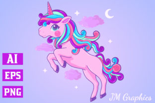 Print on Demand: Pink Magical Unicorn Clipart 2 Graphic Illustrations By JM_Graphics 1