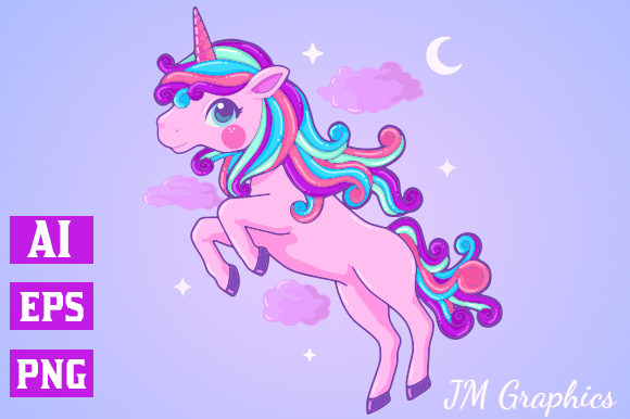 Print on Demand: Pink Magical Unicorn Clipart 2 Gráfico Ilustraciones Por JM_Graphics