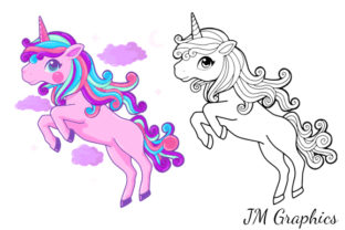 Print on Demand: Pink Magical Unicorn Clipart 2 Graphic Illustrations By JM_Graphics 3