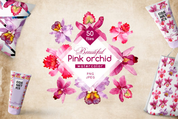 Print on Demand: Pink Orchid Watercolor Flower Set Graphic Illustrations By MyStocks