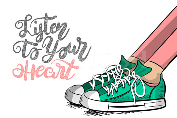Pop Art Woman Legs in Sneakers Cartoon Graphic Illustrations By Kapitosh