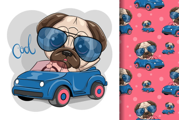 Pug Dog Boy Goes on a Blue Car Graphic Illustrations By maniacvector