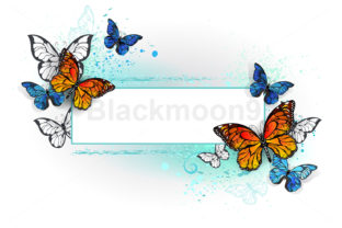 Rectangular Banner with Butterflies Graphic Illustrations By Blackmoon9