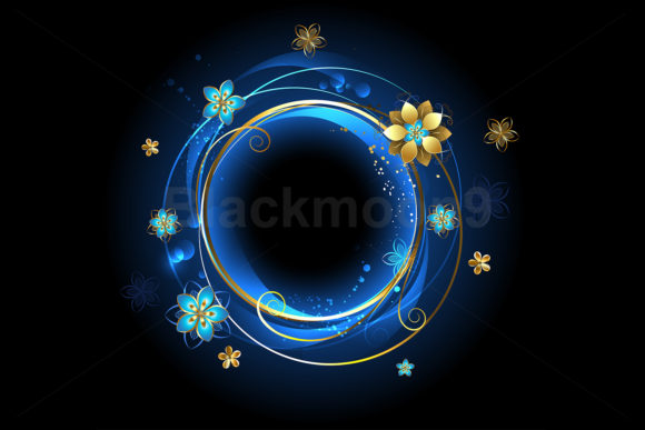 Round Banner with Gold Flowers Graphic Illustrations By Blackmoon9