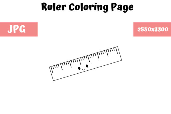 Print on Demand: Ruler Coloring Page for Kids 02 Graphic Coloring Pages & Books Kids By MyBeautifulFiles