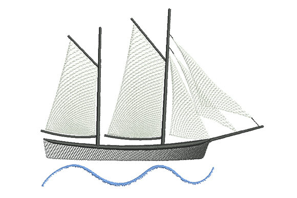 Print on Demand: Sailboat with White Sails Beach & Nautical Embroidery Design By EmbArt