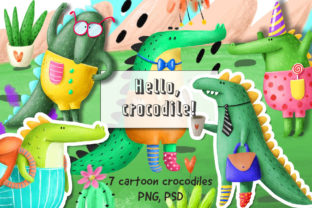 Print on Demand: Set of Cute Crocodiles Graphic Illustrations By Architekt_AT