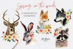 Spring in the Woods - Watercolor Animals Graphic Illustrations By Jade Blossom Graphics