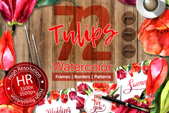 Print on Demand: Stunning Red Tulips Watercolor Set Graphic Illustrations By MyStocks