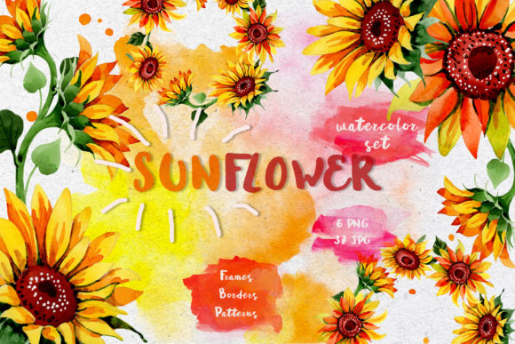 Print on Demand: Sunflower PNG Watercolor Flower Set Graphic Illustrations By MyStocks
