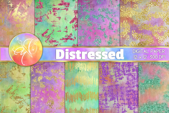 Unicorn Distressed Digital Paper Graphic Backgrounds By paperart.bymc