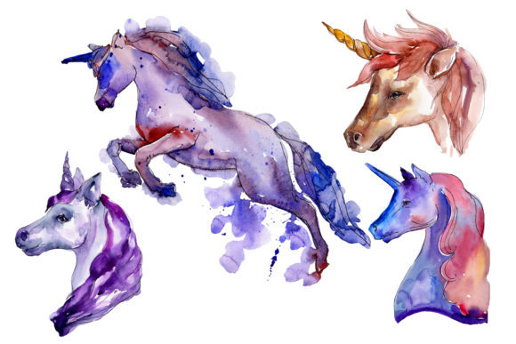 Print on Demand: Unicorn Animal World Watercolor   Graphic Illustrations By MyStocks