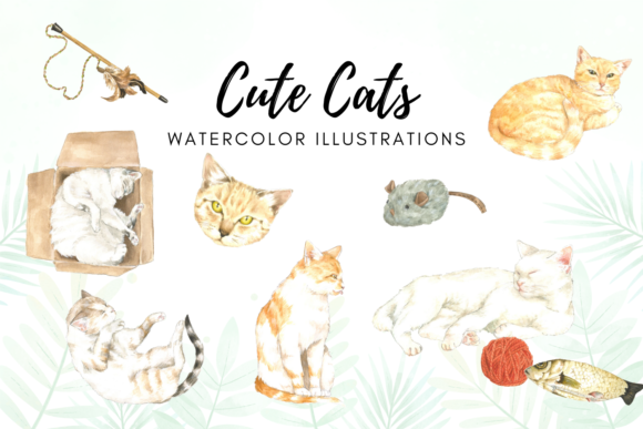 Watercolor Cats Illustrations Graphic Illustrations By Aneta Design