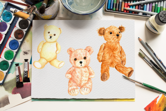 Watercolor Cute Teddy Bears Collection Graphic Illustrations By Aneta Design