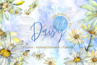 Print on Demand: Watercolor Daisy PNG Set Graphic Illustrations By MyStocks 1