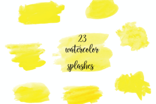 Watercolor Splash Clipart, Yellow Dots Graphic Illustrations By Aneta Design