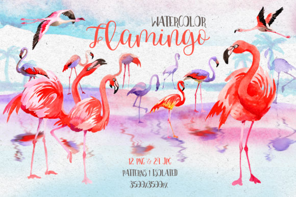 Print on Demand: Watercolor Pink Flamingo PNG Set Graphic Illustrations By MyStocks
