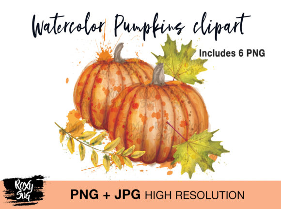 Print on Demand: Watercolor Pumpkin Clipart Graphic Crafts By roxysvg26