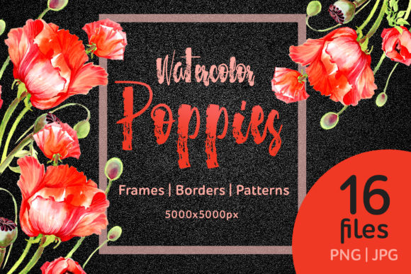 Print on Demand: Watercolor Red Poppies Flower Set Graphic Illustrations By MyStocks