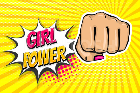 Woman Fist - Girl Power Strong Pop Art Graphic Illustrations By Kapitosh