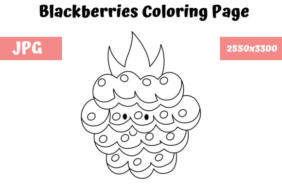 Print on Demand: Blackberries Coloring Page for Kids Graphic Coloring Pages & Books Kids By MyBeautifulFiles