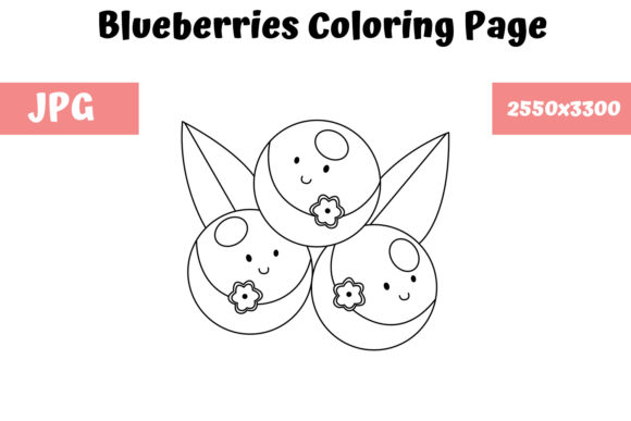Print on Demand: Blueberries Coloring Page for Kids Graphic Coloring Pages & Books Kids By MyBeautifulFiles