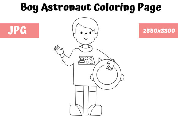 Print on Demand: Boy Astronaut Coloring Page for Kids Graphic Coloring Pages & Books Kids By MyBeautifulFiles