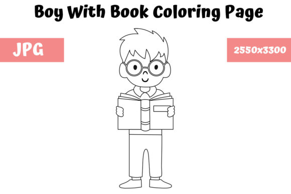Print on Demand: Boy with Book Coloring Page for Kids Graphic Coloring Pages & Books Kids By MyBeautifulFiles