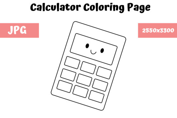 Print on Demand: Calculator Coloring Page for Kids Graphic Coloring Pages & Books Kids By MyBeautifulFiles