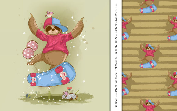 Cartoon Vector Sloth with Skateboard Graphic Illustrations By maniacvector