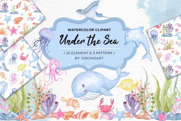 Print on Demand: Cute Animal Undersea Watercolor Set Graphic Illustrations By OrchidArt